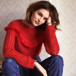 Sezane Pull Gaston Jumper Red Sweater with Fringe